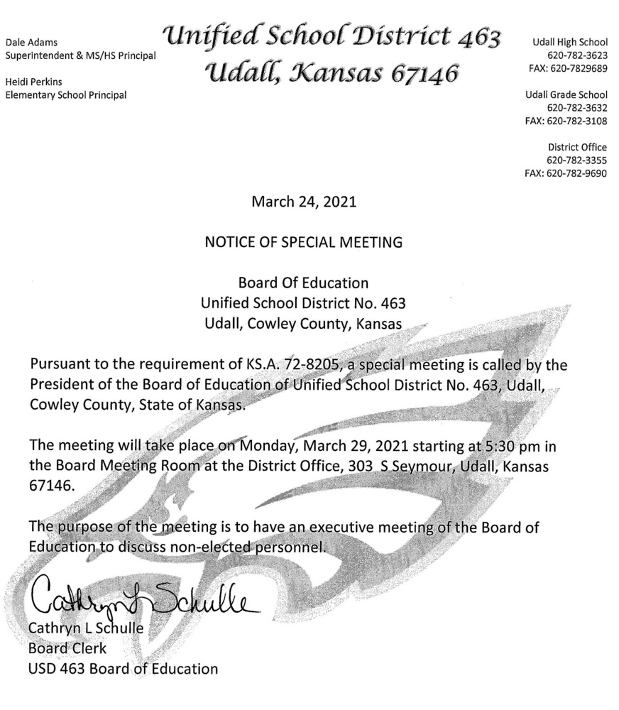 Notice of Special Meeting for the USD463 Board of Education